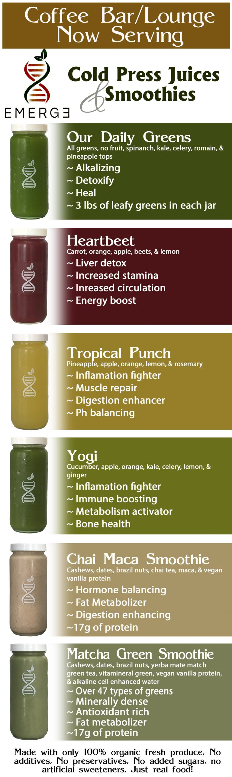 Red's Coffee Bar/Lounge now serving Emerge Cold Press Juices and Smoothies.