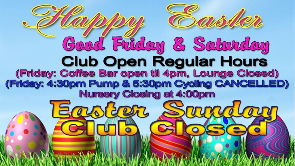 Easter schedule 2018 at Red's