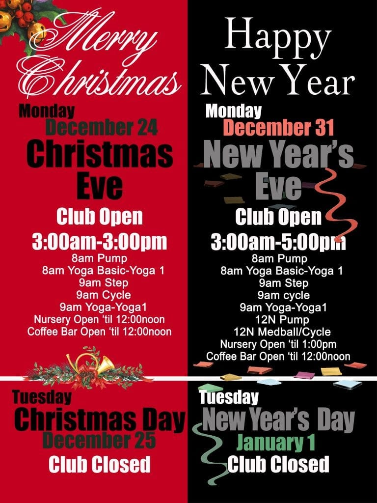 2018 holiday schedule at Red's.